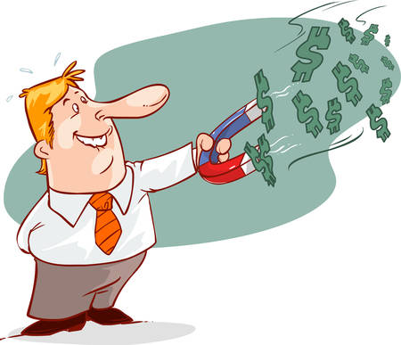 businessman with horseshoe magnet collecting money , eps10 vector format Illustration