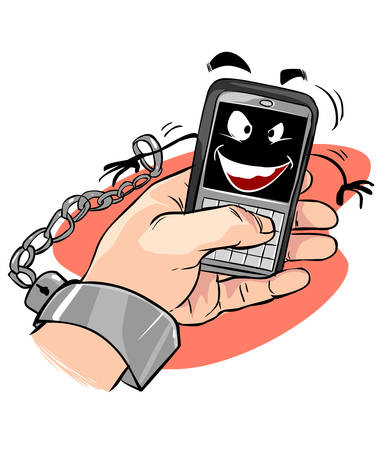 vector illustration of a smartphone addiction. bad lifestyle concept