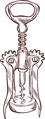 Ilustracji wektorowych z korkociągiem