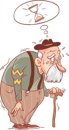 Grand-père de dessin animé avec la canne. Illustration vectorielle avec des gradients simples. Vecteurs