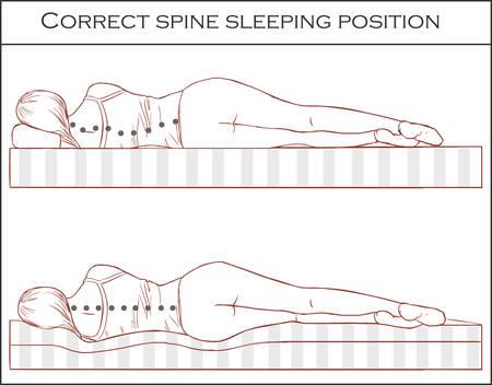 Position de sommeil de la colonne vertébrale correcte Banque d'images - 73323593