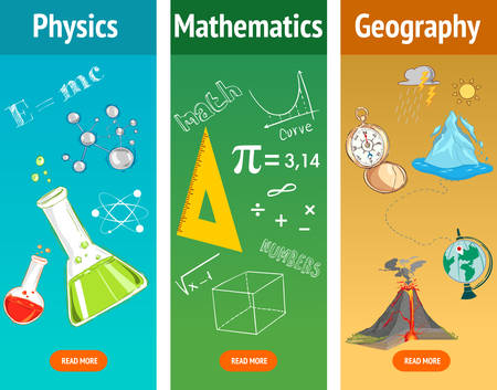 exact science: Basic math. Physics subject. Geography science. School subjects. Education and science banners set.