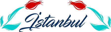 country flowers: Istanbul logo icon and shape vector illustration.