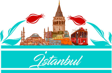 Istanbul  icon and shape vector illustration