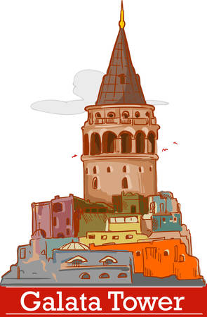 Istanbul galata tower icon and shape vector illustration.