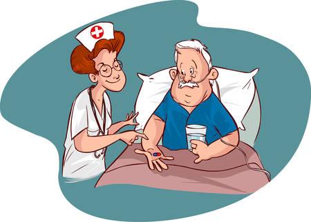 pacientes: Ilustración de vector de enfermeras y pacientes de edad avanzada