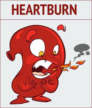 White background vector illustration of a heartburn Illustration