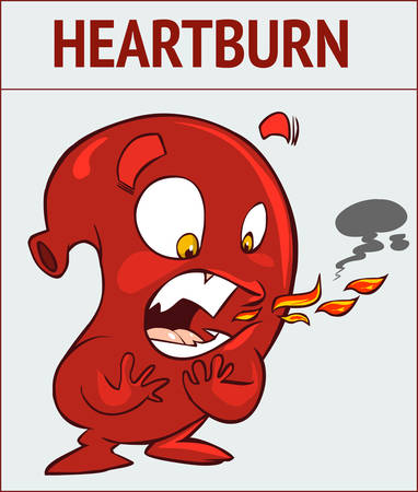 White background vector illustration of a heartburn
