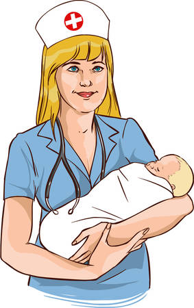 white backround vector illustration of a nurse baby Illusztráció