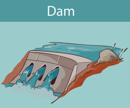 Water dam icon in cartoon style isolated Illustration