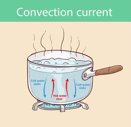 Diagrama que ilustra cómo se transfiere calor en una olla hirviendo Ilustración de vector