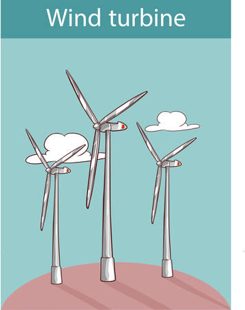 vector illustration of a wind turbines