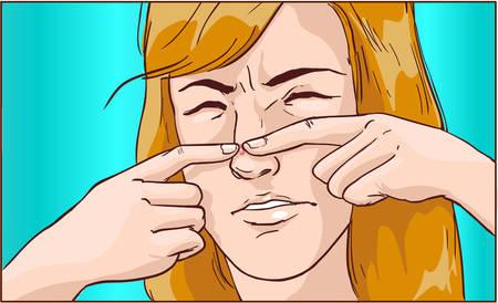 illustrazione vettoriale di una ragazza sta spremendo un brufolo Vettoriali