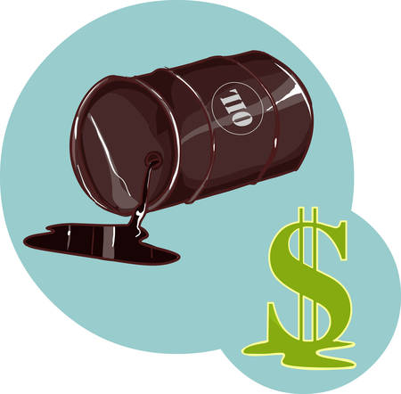 Vector Illustration of a Drum with spilled oil and dollar