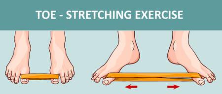 Vrouwen voet met elastische band stretching oefening.