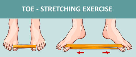 Womans foot with elastic band performing stretching exercise. Çizim