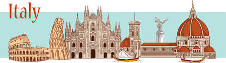 Time to travel in Italy vector illustration. Ilustrace