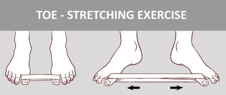 Womans foot with elastic band performing stretching exercise. Illustration