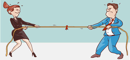 vector illustration of a male and female conflict Illustration