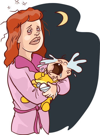 Vector of a Cartoon Sleepless White Mother Carrying a Crying Baby