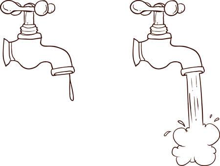 Freehand drawn cartoon running faucet