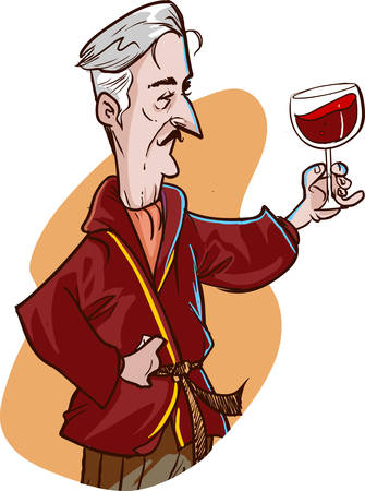 Old man drinking wine vector illustration.
