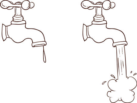 Freehand drawn cartoon running faucet.