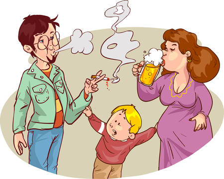 Child s drawing of him and his parents with alcohol and smoking addictions
