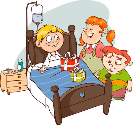 Friends visiting Sick Child in cartoon illustration. Ilustracja