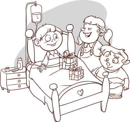 Friends visiting Sick Child in outline Illustration. Illustration