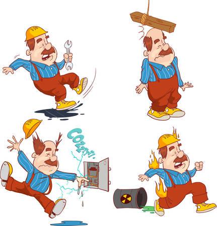 Zestaw pracownik budowlany, wypadek pracy, bezpieczeństwo przede wszystkim, zdrowie i bezpieczeństwo, ilustracji wektorowych