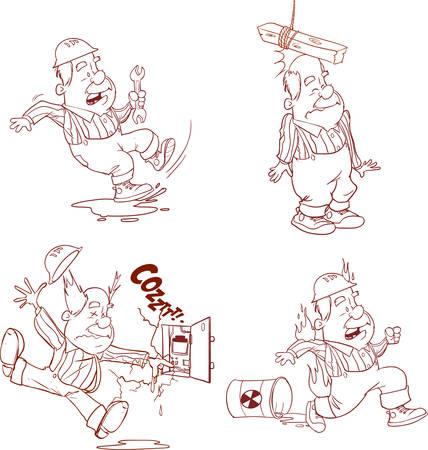 Conjunto de trabajador de la construcción, accidentes de trabajo, seguridad primero, salud y seguridad, ilustración vectorial