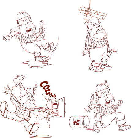 Set of Construction worker, Accident working, safety first, health and safety, vector illustration Vettoriali
