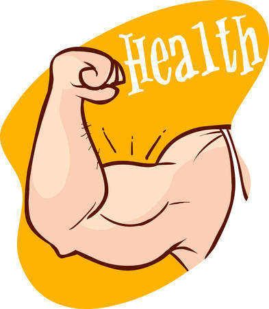 Muscle arms, strong bicep vector illustration