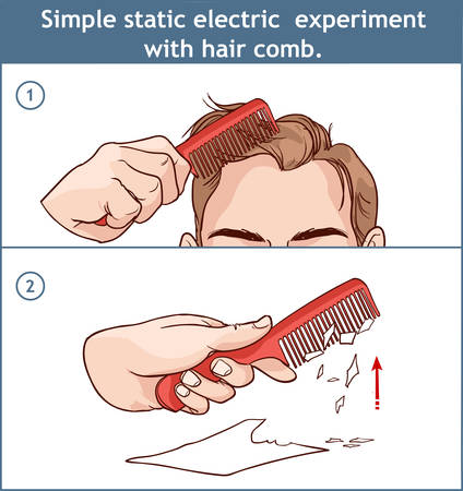 Simple static electric experiment with hair comb. Иллюстрация