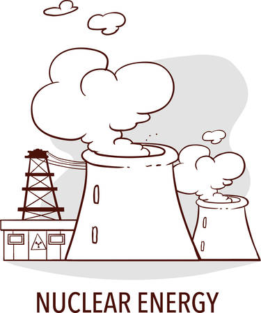 Nuclear energy industrial concept. Illustration
