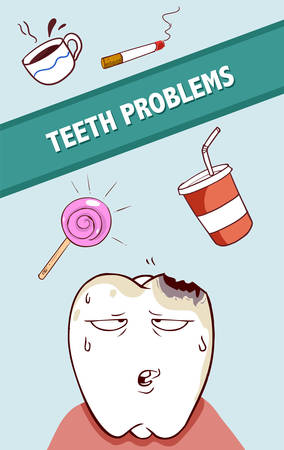 Vector illustration of a bad food and drink for teeth,