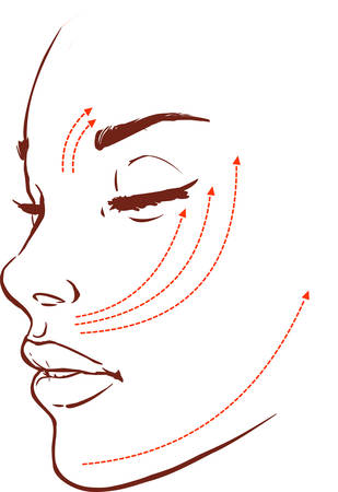 Beautiful woman with marks drawn on her face for plastic cosmetic surgery vector illustration