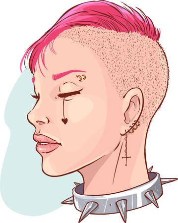 Vector illustration of a Young punk girl isolated Çizim