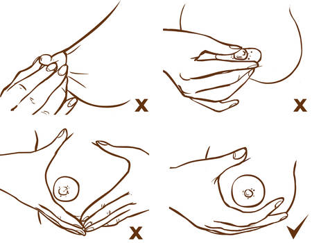 Gebruik borstcompressies en massage om de melkproductie te stimuleren Vector Illustratie