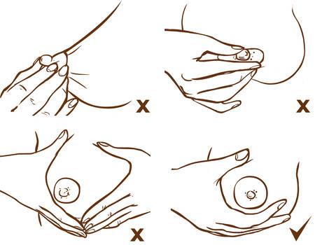 Verwenden Sie Brustkompressionen und Massagen, um die Milchleistung zu steigern Vektorgrafik