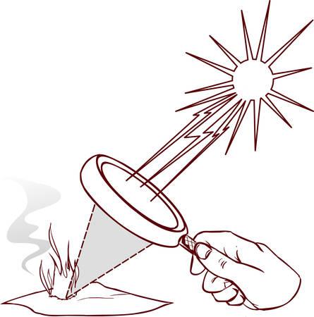 Lente di ingrandimento utilizzata per concentrare alcuni raggi solari su un pezzo di carta. Illustrazione digitale. Vettoriali
