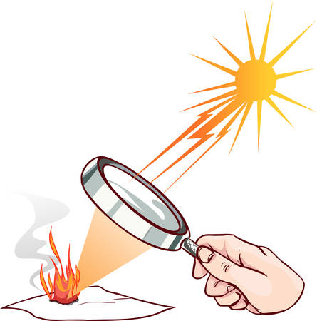 Lente de aumento utilizada para concentrar algunos rayos solares en una hoja de papel. Ilustración digital.