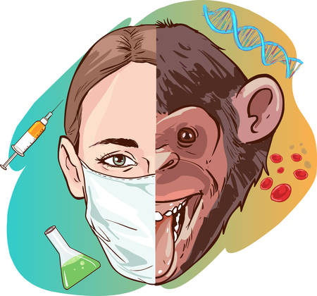 science woman and monkey vector illustration Illustration