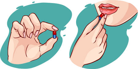 A woman taking a pillvitamin 일러스트