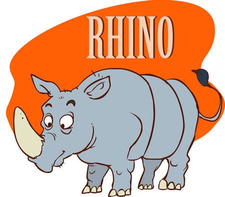 Rhino on the Savannah stock illustration