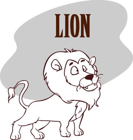 Funny cute lion cartoon. stock illustration Ilustração