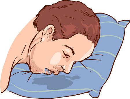 An image of a Man drooling on his pillow. Ilustração