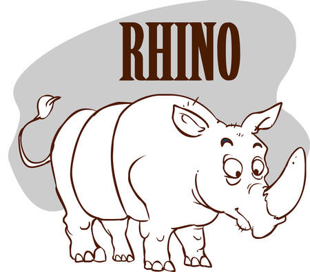 Rhino on the Savannah stock illustration