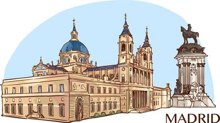 Almudena Cathedral and buen retiro park  vector illustration